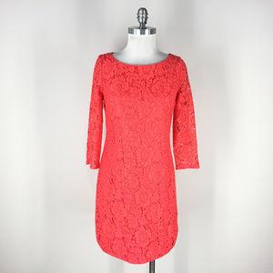 Vince Camuto S 6 Coral Lace Sheath dress 3/4 slv